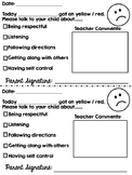 Easy and fast behavior note to parents