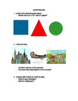 Oral quiz for Elementary Level.