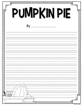 Pumpkin Pie Writing Prompts and Craft