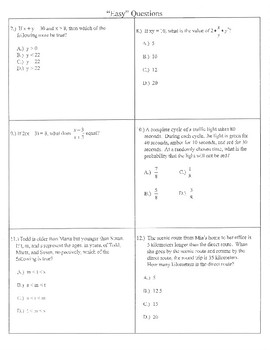 Easy medium hard NEW SAT math example problems practice prep
