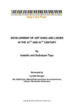 Easy n Fun: Development of Art Song and Lieder in the 19th and 20th C