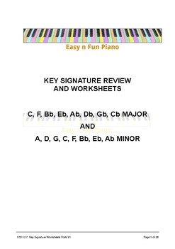 Easy n Fun: Key Signature Review and Worksheets (flats)