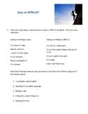 Easy or Difficult ESL Mini Lesson (Student Version)