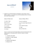 Easy or Difficult ESL Mini Lesson (Teacher Version)