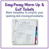 Easy-peasy Warm Up and Exit Ticket Template