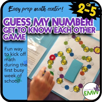 """Easy prep """"Get to know you"""" math game - Guess My Number"""