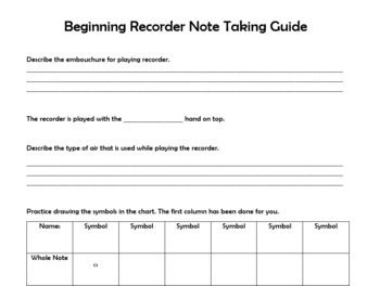 Middle School General Music - Easy Recorder Unit