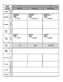 Easy to Modify Weekly Lesson Plan Template