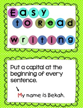 Easy to Read Writing Anchor Chart Cards