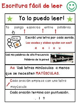 Easy To Read Writing Anchor Chart English And Spanish By Vanessa Delgado
