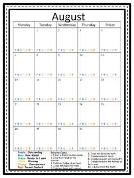 Easy to Use Editable Behavior Calendar 2017-2018