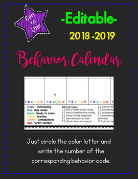 Easy to Use Editable Behavior Calendar 2018-2019