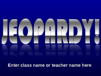 Easy to Use Jeopardy Template