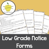 Easy-to-Use Low Grade Notice Form for Students and Family in English and Spanish
