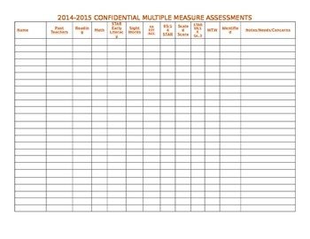 Easy to Use Multiple Measures Chart to Track Students