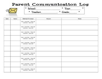 Easy to Use Parent Communication Log
