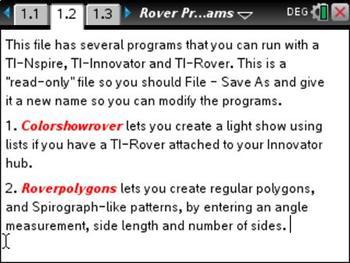 Easy-to-Use TI-Nspire TI-Rover Programs