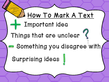 Easy-to-Use Text Marking Posters and Graphic Organizer