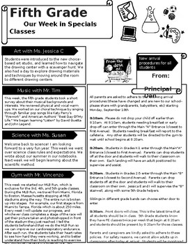 Easy to Use and Editable Classroom Newsletter Template