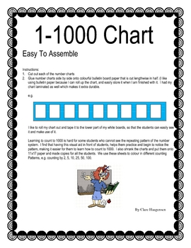 Easy to assemble 1-1000 chart for student counting practice