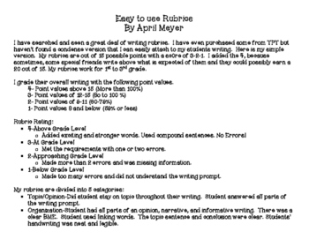 Easy to use Writing Rubrics