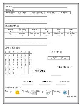 Easy to use calendar worksheet