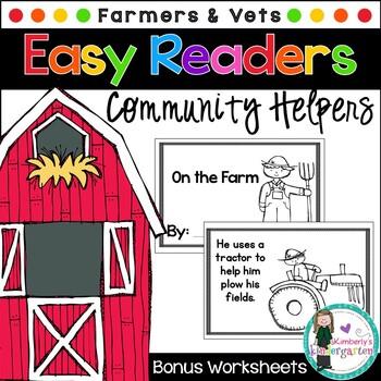 Easy/Emergent Readers! Community Helpers: Farmers & Vets.