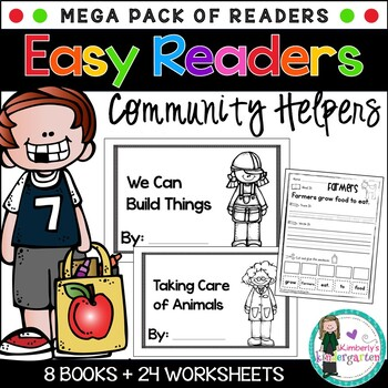 Easy/Emergent Readers! Community Helpers MEGA Pack. 8 Books + 24 Worksheets