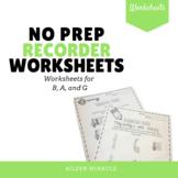 No Prep BAG Recorder Worksheets