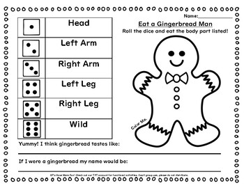 Eat A Gingerbread Man & Gingerbread Exercise Bundle Packet