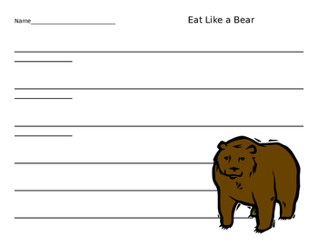 Eat Like a Bear Food Sort and Writing Page