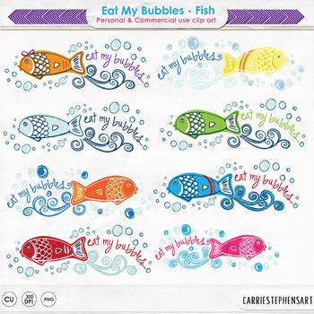 Eat My Bubbles Fish ClipArt, Whimsical Fish Clip Art, Fun Ocean, Swimming