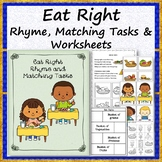 #WARMUPWITHSPED3 Eat Right Rhyme Matching and Worksheets