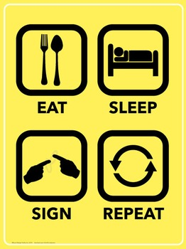 Eat. Sleep. Sign. Repeat. ASL poster.
