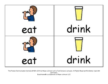Eat and Drink Cue Cards Visual Supports ESL Autism Speech Special Education