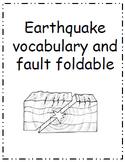 Earthquake Faults, Vocabulary and Foldable