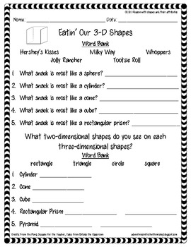 Eatin' and Tracin' 3-D Shapes {freebie}