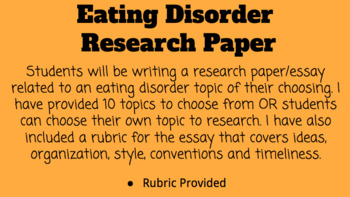 Eating Disorder Research Paper/Essay
