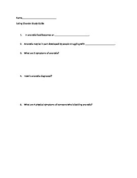 Eating Disorder Study Guide