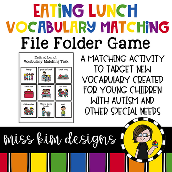 Eating Lunch Vocabulary Folder Game for Early Childhood Special Education