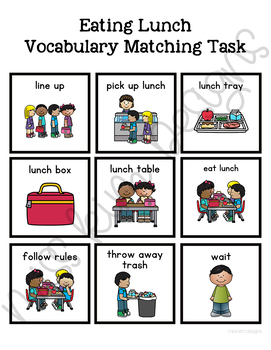 Eating Lunch Vocabulary Folder Game for Students with Autism & Special Needs