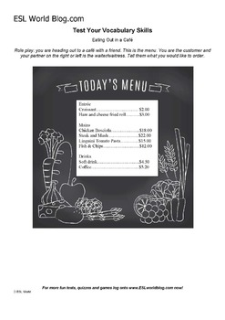 Eating Out Cafe Vocabulary and Speaking Activity Sheets