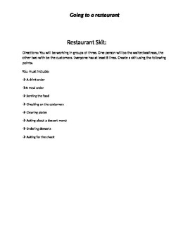 Eating at a Restaurant - ESL / TEFL Beginner to Intermediate Students