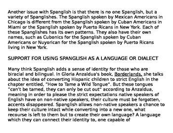 Ebonics and Spanglish jigsaw