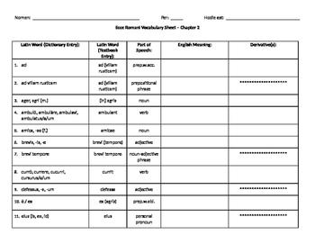 Ecce Romani Chapter 2 Vocabulary Worksheet