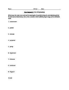 Ecce Romani II Chs. 28 & 29 Derivative Worksheets