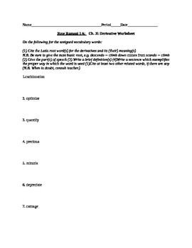 Ecce Romani II Chs. 30-33 Bundled Derivative Worksheets