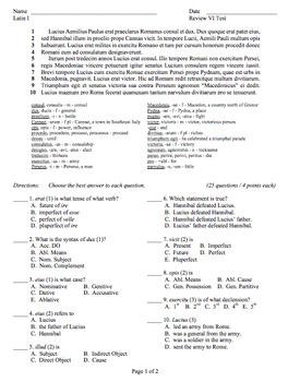 Ecce Romani Review 06 Test