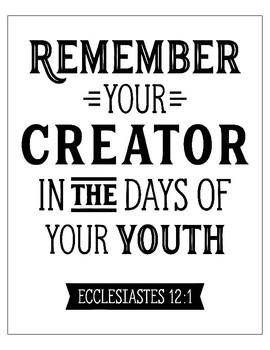 Ecclesiastes 12:1 Poster