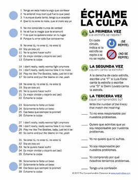 Échame la culpa - Luis Fonsi and Demi Lovato Song activities for Spanish classes
